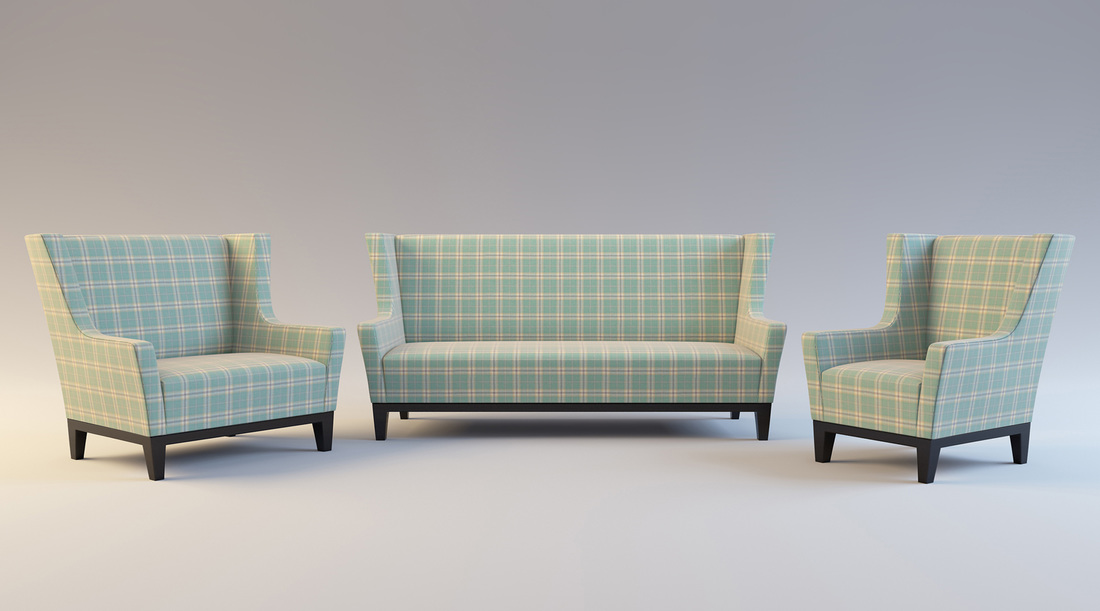 Blue and Cream check sofa and chair set product 3D