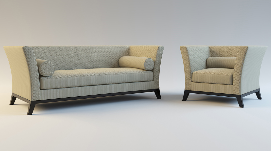 Cream patterned sofa and chair product 3D