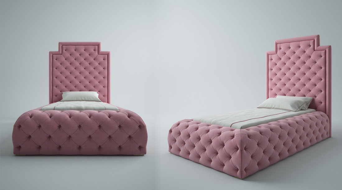 Pink buttoned bed with headboard 3D