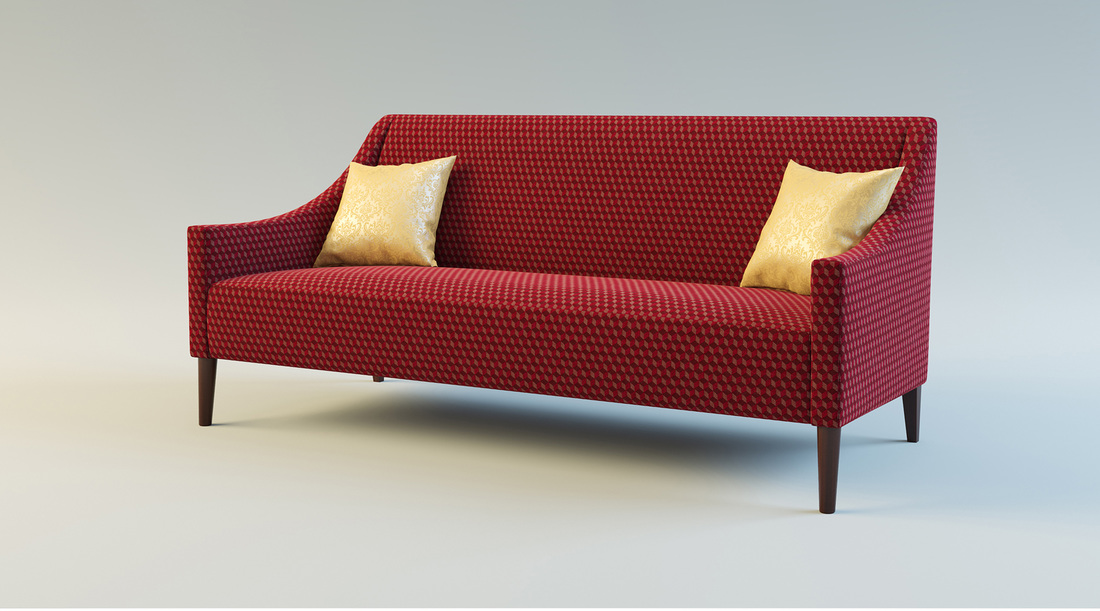Red formal sofa 3D