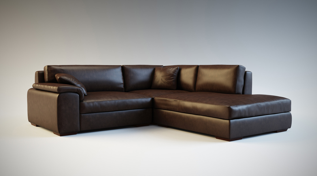 Brown  leather corner sofa product 3D