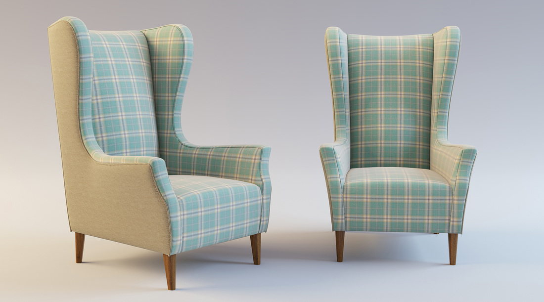Blue and Cream Wing Back chairs product 3D