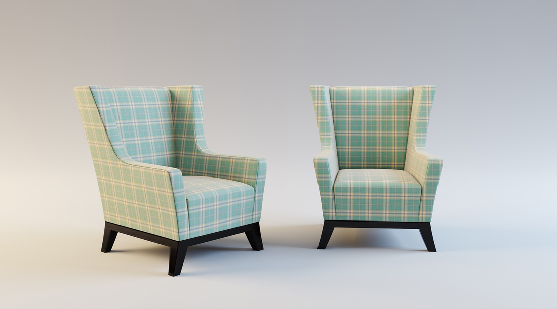 Blue and Cream check lounge chairs product 3D