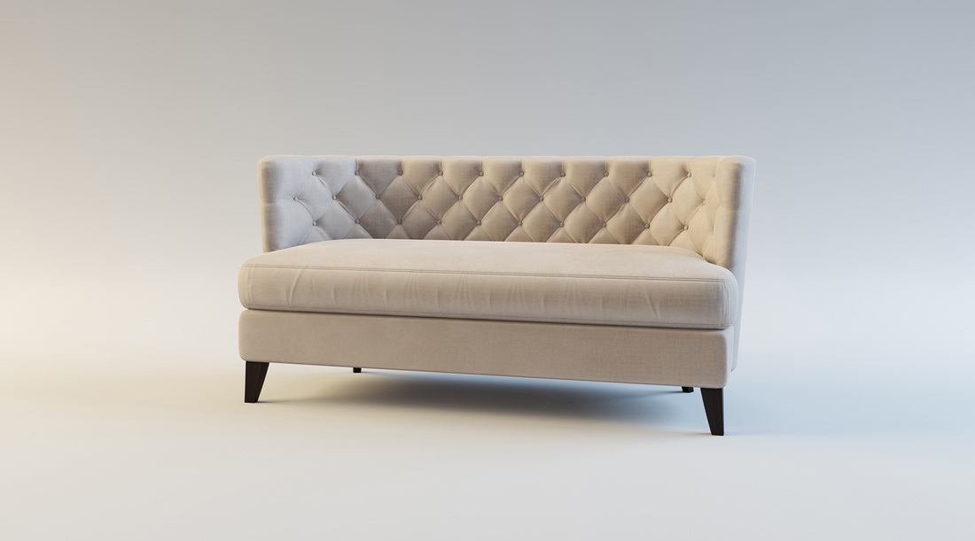 Cream Buttoned Sofa product 3D